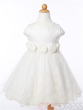 Ericdress Solid Color Ball Gown Girls Dress