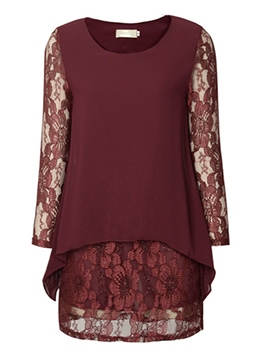 Ericdress Plain Patchwork Lace Plus Size Blouse