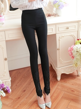 Ericdress Elegant Solid Color Lace Patchwork Leggings Pants