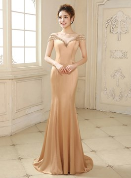 Ericdress Wonderful Mermaid/Trumpet Cap Sleeves Beaded Evening Dress