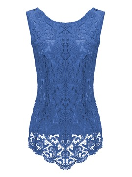 Ericdress Solid Color Lace Slim Vest