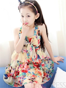 Ericdress Sleeveless Floral Layered Girls Dress