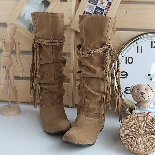 Ericdress Woven String Pure Color Knee High Slouchy Boots