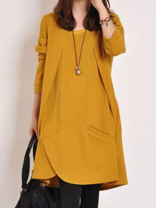 Ericdress Plus Size Solid Color Casual Dress