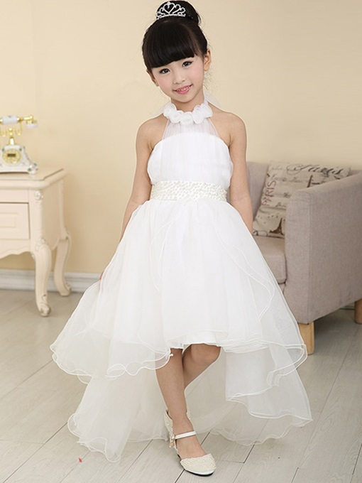 Ericdress Halter Beading 3D Floral Asymmetry Flower Girl Dress