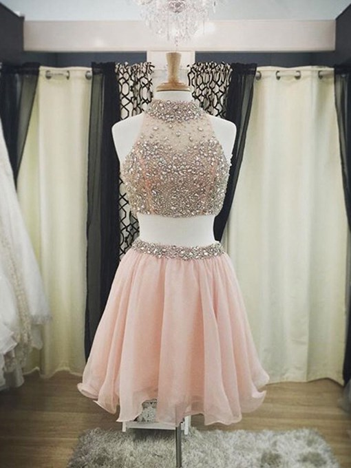 Ericdress A-Line High Neck Beading Crystal Two Pieces Cocktail Dress