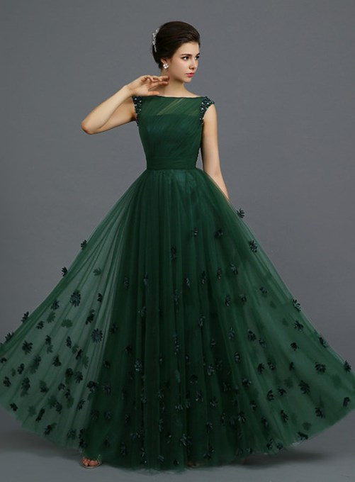 Ericdress Fantastic A-Line Floor-Length Beaded Appliques Evening Dress