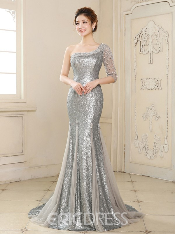 Ericdress One-Shoulder Sequins Mermaid Evening Dress With Half ...