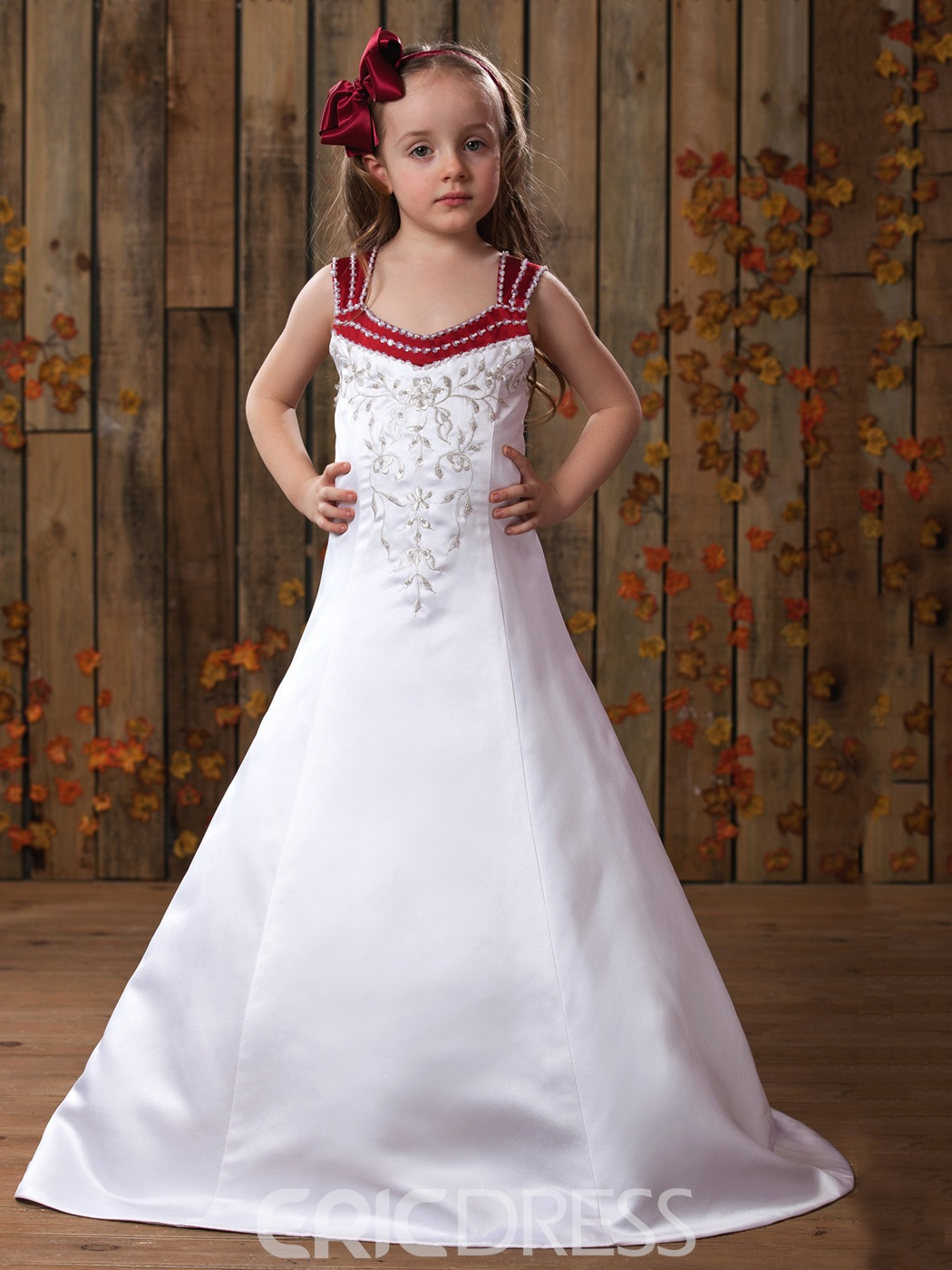 A-line Straps Court Train Embroidery Flower Girl Dress