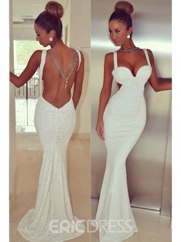 Ericdress Straps Open Back Sequins Long Mermaid Evening Dress
