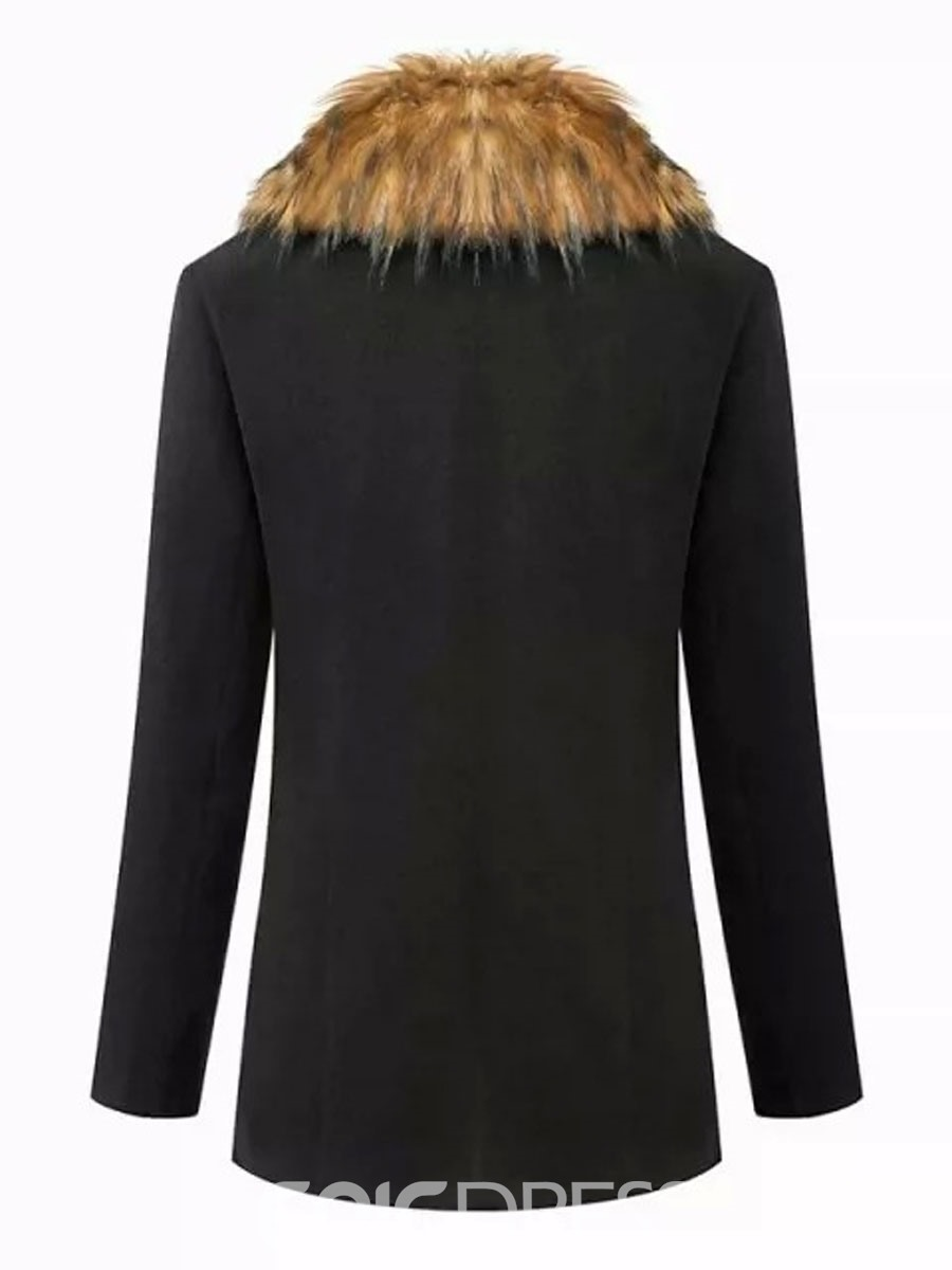 Ericdress Black Fur Collar Coat