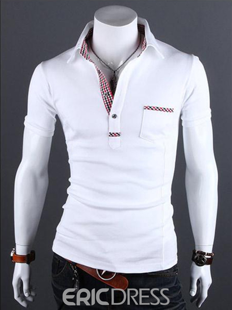 Ericdress Pocket Decorated Patchwork Collar Short Sleeve Men's Shirt