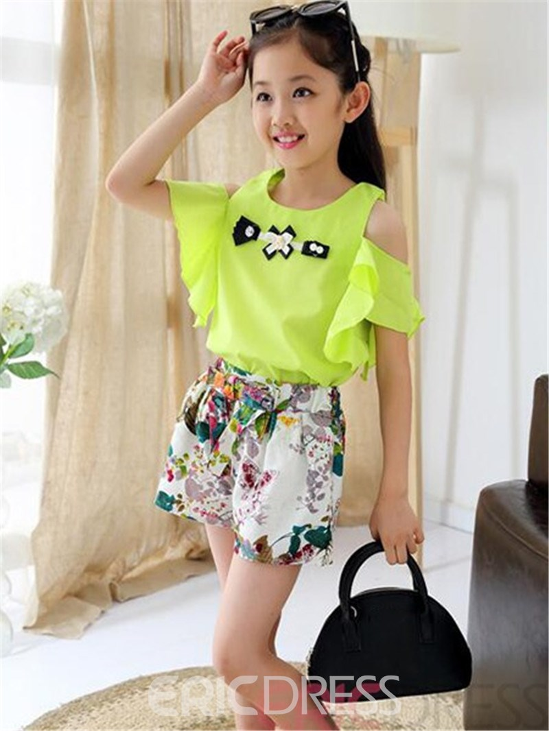 Ericdress Floral Print Girls Outfits