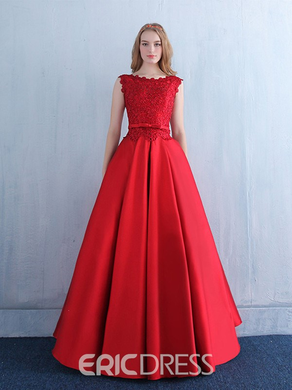 75534273009228 Ericdress Bateau Neck Beading Bowknot Lace Evening Dress |  ExtraordinaryDresses.com