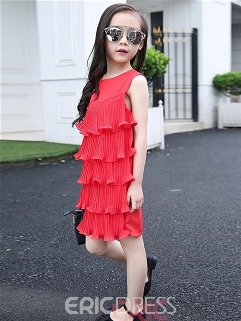 Ericdress Solid Color Falbala Sleeveless Girls Dress