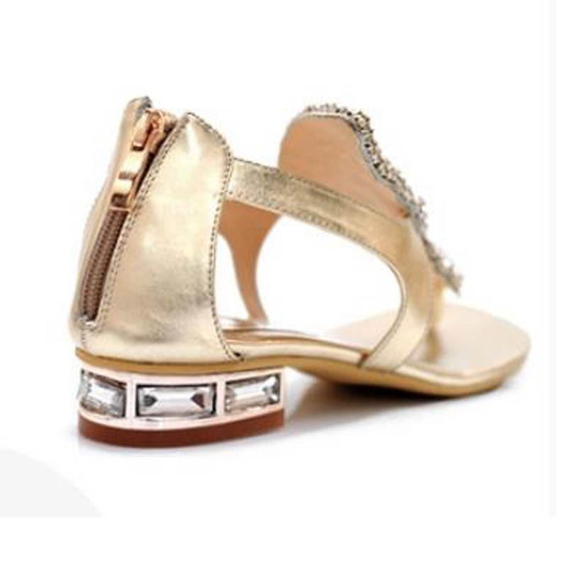 Charming Rhinestone Genuine Leather Flat Sandals
