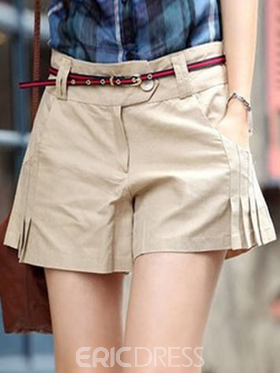 Ericdress Pleated Casual Shorts