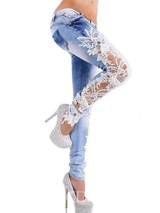 Women's Clothing Lace Hollow Denim Slim Jeans