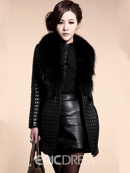 Ericdress Black PU Patchwork Overcoat