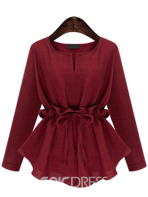 Ericdress Slim Lace-Up Frill Blouse