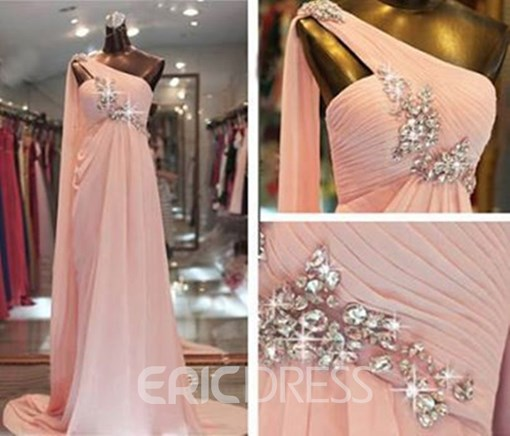 Ericdress One Shoulder Beading Pearl Pink Evening Dress