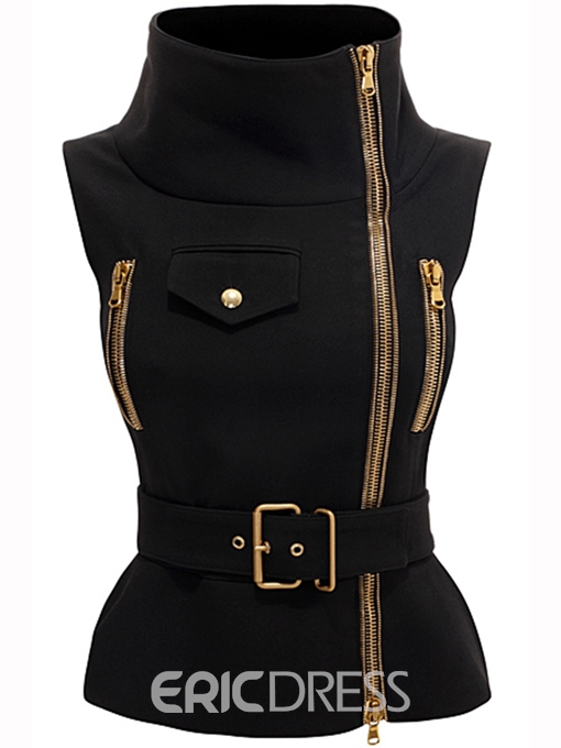 Ericdress Turtleneck Zipper Sleeveless Jacket