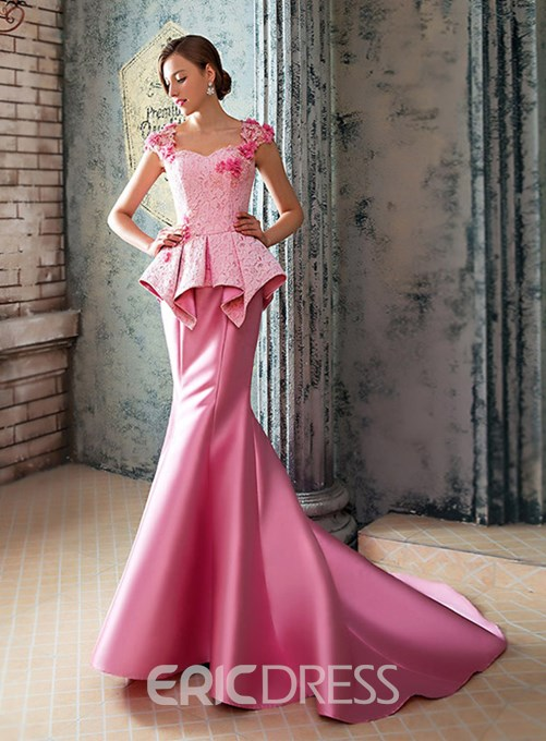 Amazing Mermaid Lace Court Train Long Evening Dress
