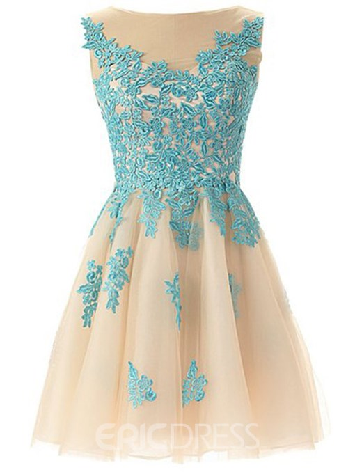 Ericdress Jewel Neck Appliques Short Junior Prom Dress