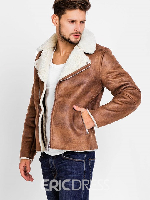 Ericdress Lapel PU Zip Faux Shearling Warm Vogue Men's Jacket