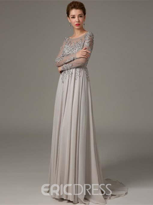 Ericdress Beaded Backless Evening Dress with Long Sleeves