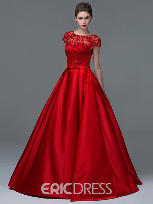 Ericdress Appliques Sequins Short Sleeves Red Prom Dress