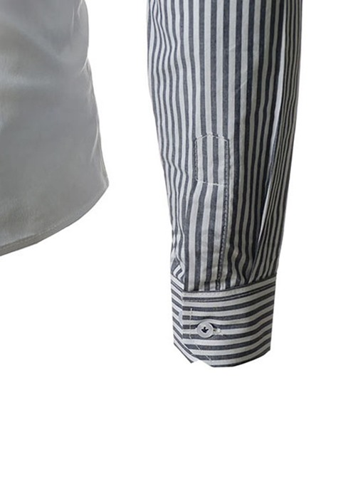 Ericdress Patched Striped Sleeves Mens Button Down Shirt