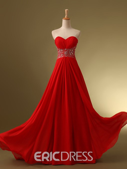 Ericdress Sweetheart Beaded Ruches A-Line Lace-Up Floor-Length Prom Dress