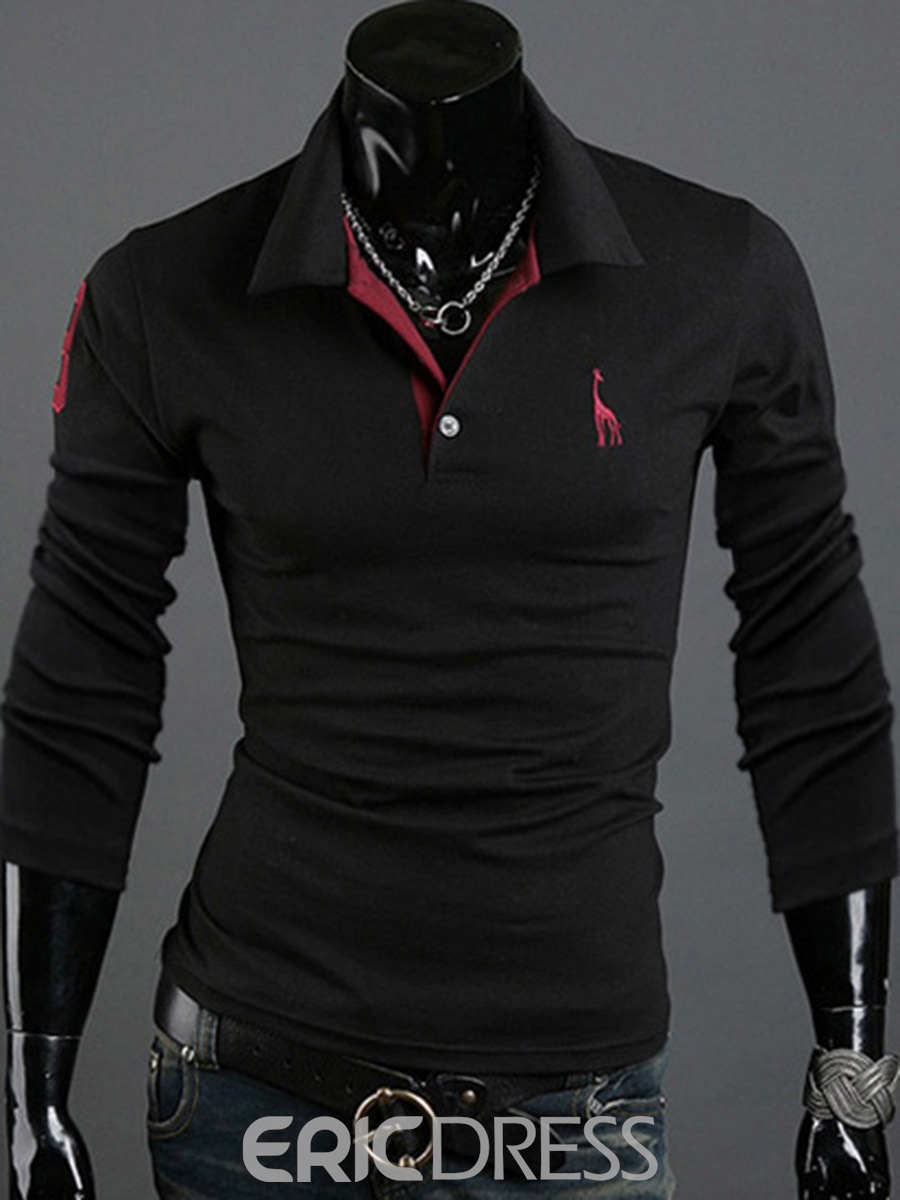 Ericdress Lapel Long Sleeve POLO Men's Shirt