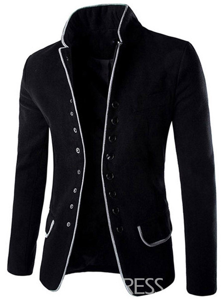 Ericdress Casual Stand Collar Single-Breasted Men's Woolen Coat