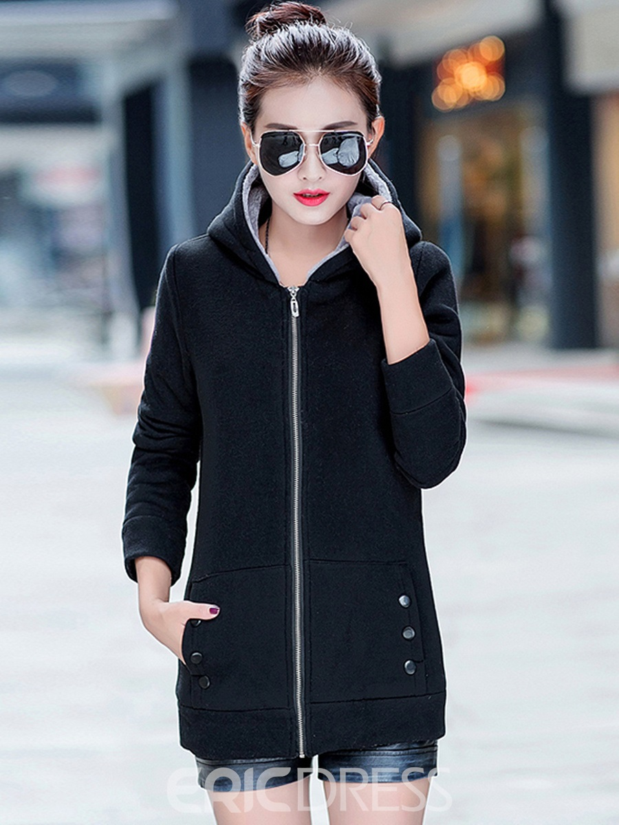 Ericdress Plus Velvet Hooded Cotton Coat