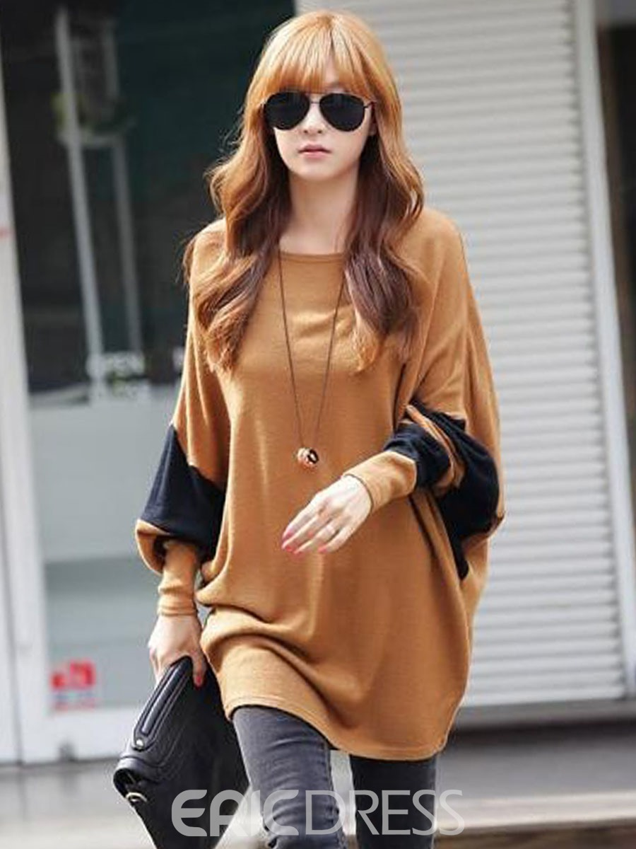 Ericdress Round Neck Large Size Bat T-shirt