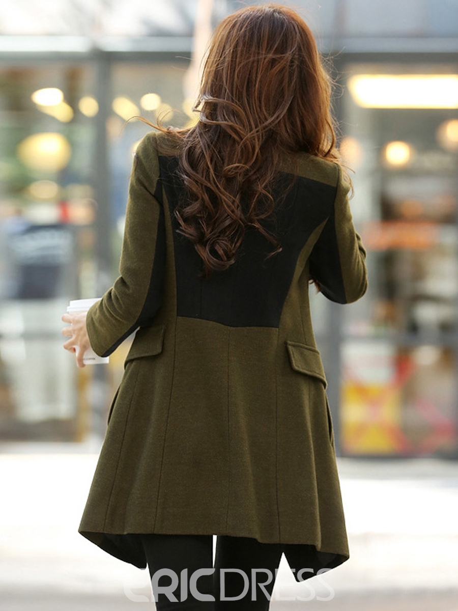 Ericdress Plus Size Army Green Zipper Coat