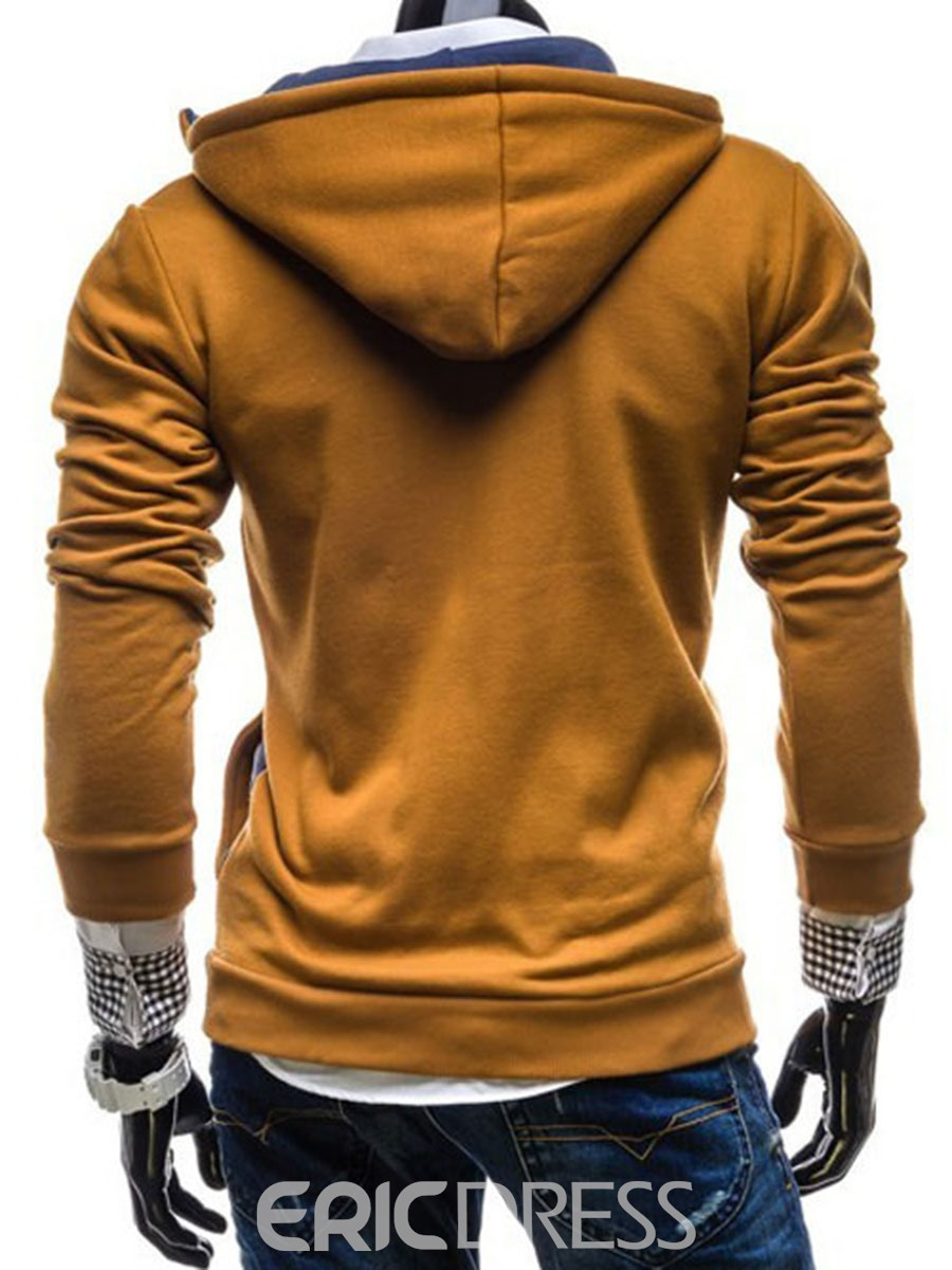 Ericdress Plain Pullover Buttons and Zipper Decorated Men's Hoodie