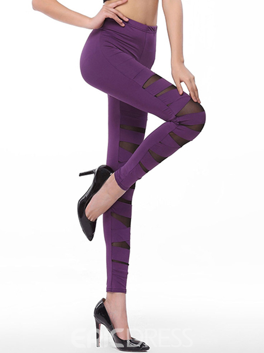 Ericdress Solid Color Hollow Patchwork Leggings Pants