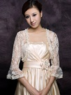 Fantastic 3/4 Sleeve Ivory Lace Wedding Jacket with Floral edge