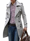 Ericdress Plain Long Slim Double-Breasted Men's Trench Coat