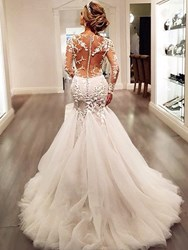 Ericdress Appliques Mermaid Wedding Dress with Long Sleeves фото