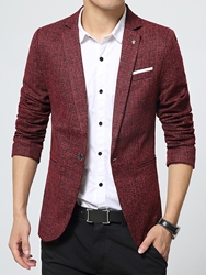 Ericdress Plain Slim Small Fit Notched Lapel Basic Small Size Mens Leisure Blazer фото