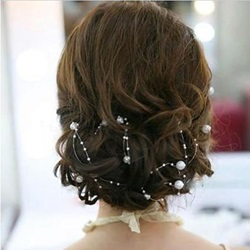 Image of 130cm Length Fascinating Brides Headflower With Pearl With Jacket/Shawl