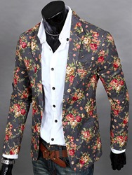 Ericdress Notched Lapel Floral Print Vogue Casual Mens Blazer фото