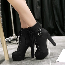 Ericdress Chunky Heel Lace-up Ankle Boots thumbnail