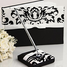 Damask Wedding Guest Book and Pen Set in Satin With Ribbon