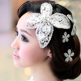 Butterfly Lace Flowers Rhinestone Bridal Headpiece (inclunding 2)