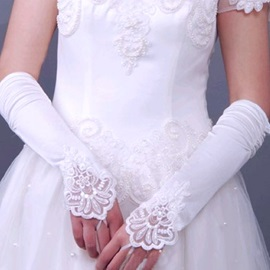 Delicate Long Fingerless Satin Wedding Gloves